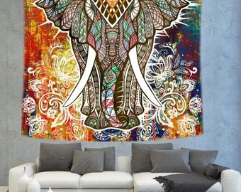 Bohemian Elephant wall tapestry, hippiee ethnic wall hanging, wall decor tapestry