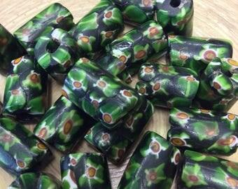 5 Green Millefiori African Trade Beads
