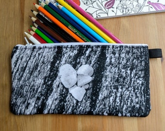Black and White Heart Pencil Case with Zipper