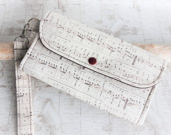 Musical notes Womens wallet, wristlet womans wallet, fabric clutch wallet, handmade accordion wallet, ID wallet, iphone wallet