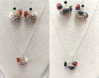 Hens jewelry set, hens earrings and pendant set,chicken set