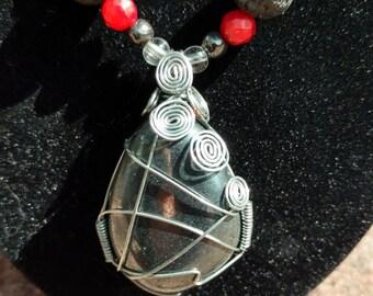 Wire Wrapped Hematite Pendant