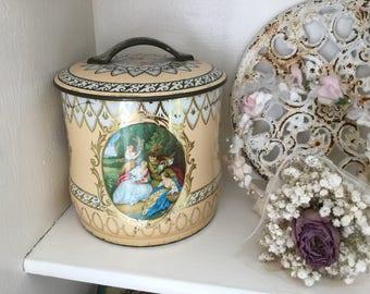 Ancient tin box, tea box, shabby
