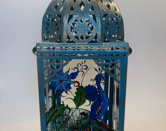 Antiqued blue/teal finish Moroccan style lantern - hand painted original design on glass by Connie