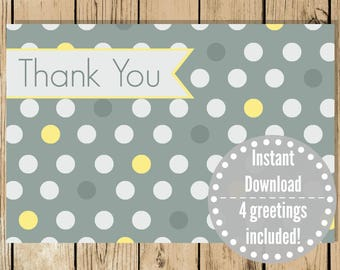 Printable Greeting Card Set - Steel Blue Dots - Thank You - Birthday - Feel Better - Congratulations - Shower - Boy Cards - INSTANT DOWNLOAD