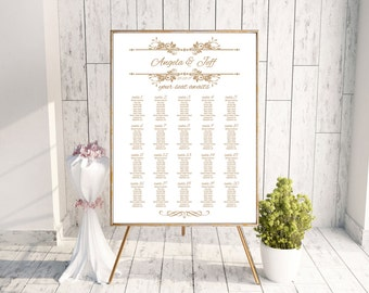 Wedding Seating Chart - Printable - Digital File - Sand & Gold - Colors Available