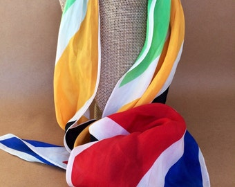 Anne Klein scarf, vintage scarf, multi colored scarf, colorful scarf, light scarf, primary colors, vintage accessory