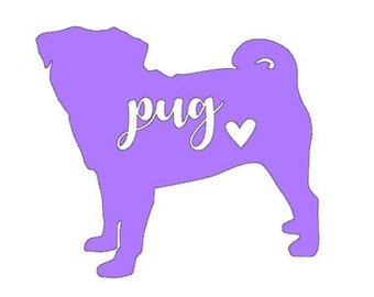 Pug Vinyl Decal | Personalized Pet Decal | Dog | Yeti Cup Decal | Car Window Decal | Laptop Sticker | Dog | Puppy |