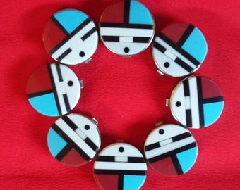 Set of 8 Zuni Sunface Stone Button Covers, Southwestern Button Covers