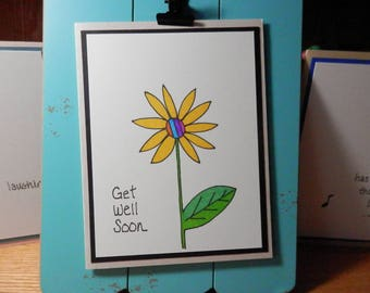 Get Well Card, Greeting Card, Handmade card, card with envelope, Get Well Soon