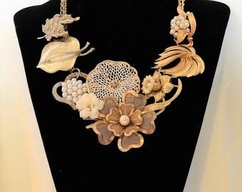 Vintage gold assemblage statement necklace
