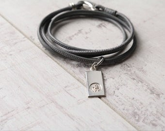 Saint Christopher Personalised Gift - Nappa Leather Bracelet - Religious Gift