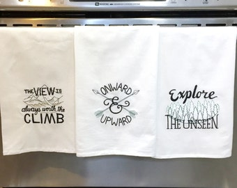 Ready To Ship 3 - PACK of Embroidered Tea Towels, kitchen dish towels, flour sack towels, dish towel set, housewarming gift, gifts for her