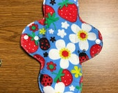 11 inch HEAVY Absorbency Reusable Menstrual Cloth Pad - Flowers and Ladybugs