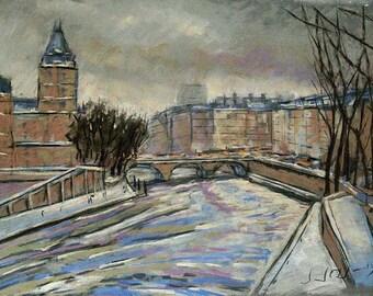 Paris painting, winter painting,  romantic landscape, paris ilustration, original painting, special gifts, pastel painting,  Paris in winter