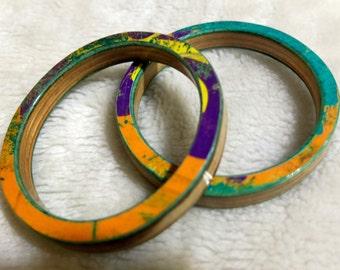 Recycled Skateboard Bangle Bracelet