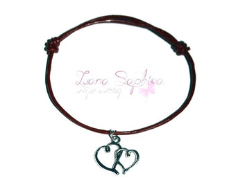 Leather Bracelet dark red with heart