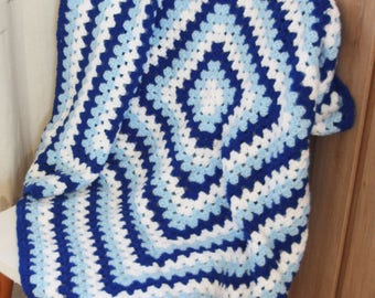 Blue and White Granny Square Blanket