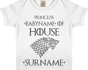 Game of Thrones House of Stark Baby Prince(ss) of Custom House Baby Tee Shirt Soft Organic Cotton Personalised Baby Shower Gift T-Shirt
