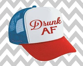 Drunk AF Trucker Hat Merica Trucker Hat Fourth Of July Hat Snapback Hat 4th of July Independence Day Snap Back Hat Lake Hat River Hat Havasu