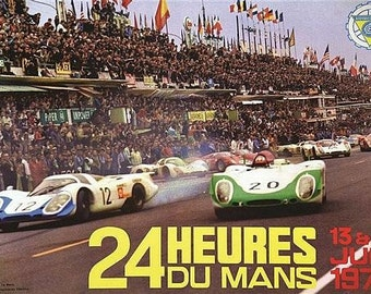 Vintage 1970 Le Mans 24 Hour Race Motor Racing Poster A3 Print