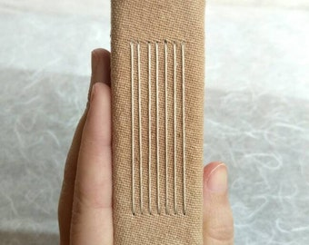 Longstitch handbound miniature notebook with geometrical handdyed cover (A7, 7.5x11 cm 3x4 inch)
