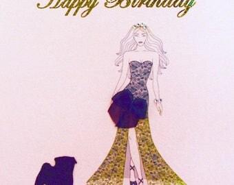 Black Pug Luxury Handmade Birthday Card