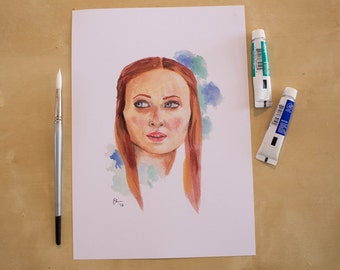 Sansa Stark - Sophie Turner - Game of Thrones - Watercolour Portrait Print