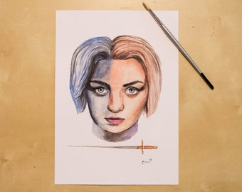 Arya Stark - Maisie Williams - Game of Thrones Watercolour Portrait Print