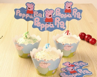 24 Pieces/Set Peppa pig Cupcake Wrappers and Toppers