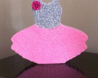 Glittery ballerina ornament, tutu ornament, ballerina figure, glittery girls room decor, dress, bridesmaid gift, room decor