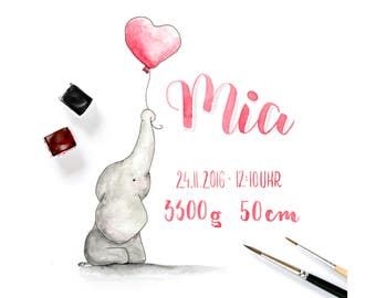 Original, Personalized Watercolor Illustration with Baby Data
