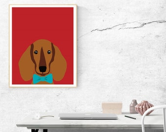 Dachshund Printable, Dachshund Art Instant Download, 8x10 download art, Red Dachshund Art, Wall Art, Printable Dachshund, Doxy Art, Doxie