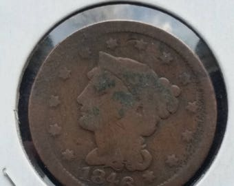 1846 Braided Hair large cent #D288 old US coin