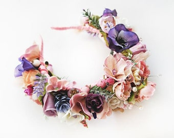 Flower Headband \ Statement Floral Headpiece Maternity Photo Prop Flower Crown Bridal Wedding Headband