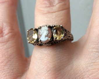 "best price - VINTAGE SPLENDID ""TRILOGY"" Ring - Genuine Hand carved Cameo, Sparkly - Citrine Sterling silver-Beautiful Fine Jewelry"