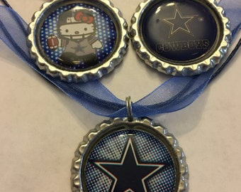 Handmade Dallas Cowboys Bottle Cap Necklace and Zipper Pull set of 2