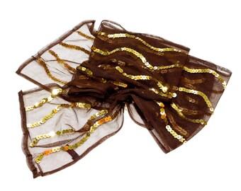 Deadstock VINTAGE: Sequin Beaded Brow Belt - Wrap - Scarf - Lariat - Obi Belt - Tie Belt - Headband - SKU 2-OS20-00008345