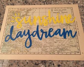 "Grateful Dead ""sugar magnolia"" hand printed lyrics on vintage map of pacific islands"