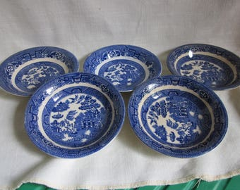 Vintage Allerton Blue Willow China Sauce/Berry Bowls, Set of 5 (five) made in England - 1927 to 1942