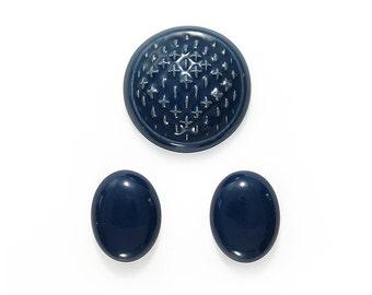 Ceramic Cabochons Set Marine Blue 3 pieces