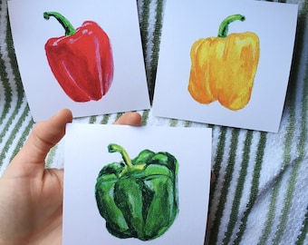 Three Bell Peppers / Original Watercolor Painting / Kitchen Art Prints / 4x4