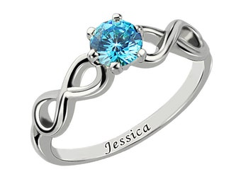 925 Sterling Silver Personalized Handmade Engraved Birthstone Infinity Ring