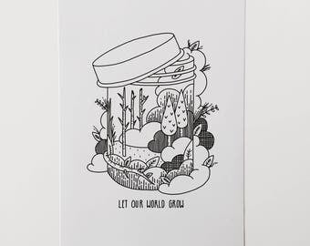 Let Our World Grow A4 Art Print