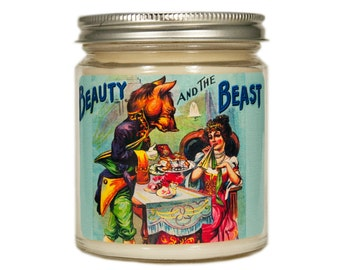 Beauty and the Beast Candle, Scented Candle, Container Candle, Soy Candle, Vintage Candle, Vintage Beauty and the Beast, Fairy Tale Candle