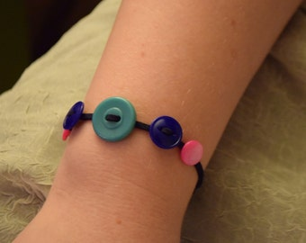 Colorful Vintage Button Bracelet on Blue Suede Cord