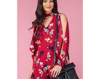 Floral print split sleeve jumpsuit