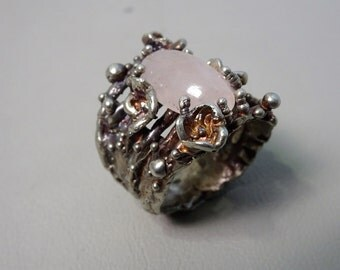 Unique handmade 925 sterling silver ring with a rose quartz Lost wax casting Statementring gift for woman gift for her