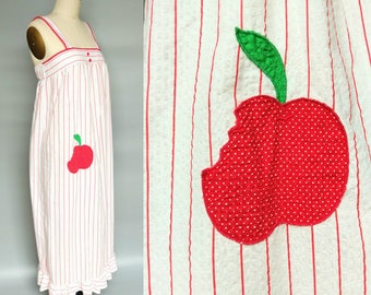 apple of my eye / 1970s red and white striped babydoll maxi dress with apple pocket / small medium