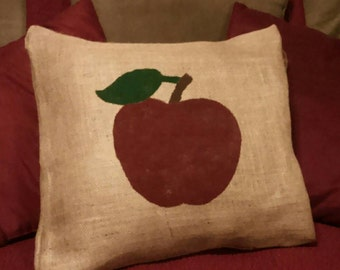 Apple Pillow, Burlap Apple Pillow, Burlap Pillow, Apple Decor, Apple Home Decor, Country Primitive, Country Decor, Rustic Decor